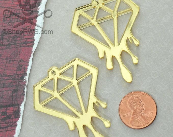 BLEEDING DIAMOND CHARMS - Set of 2 Gold Mirror Laser Cut Acrylic Charms