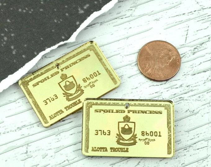 2 GOLD MIRROR Credit Cards - Fancy Fun Charms - Laser Cut Acrylic