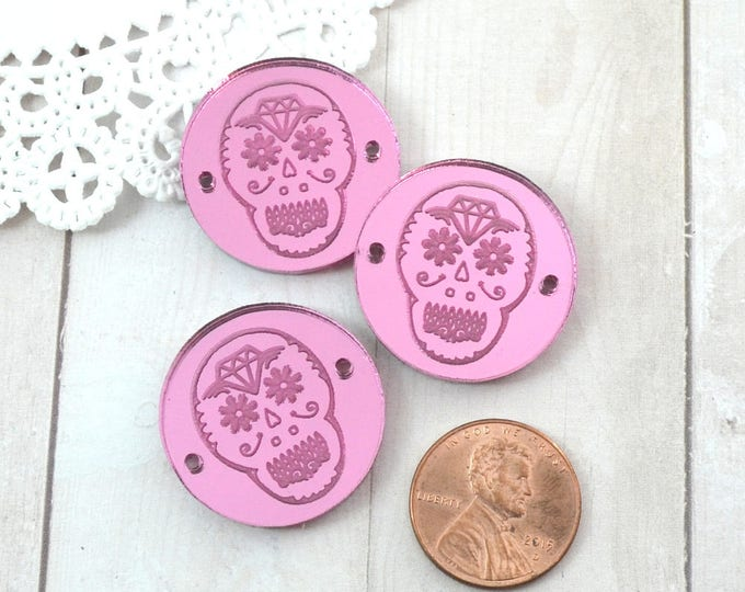 SUGAR SKULL CHARMS- Circle Disc Charm - Shiny Pink Mirror Laser Cut Acrylic