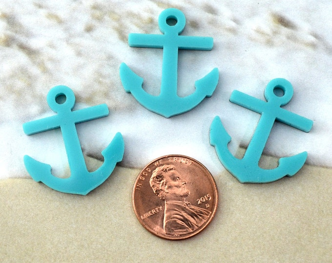 TURQUOISE ANCHORS - 3 Pieces - Cabochon Charm Laser Cut Acrylic