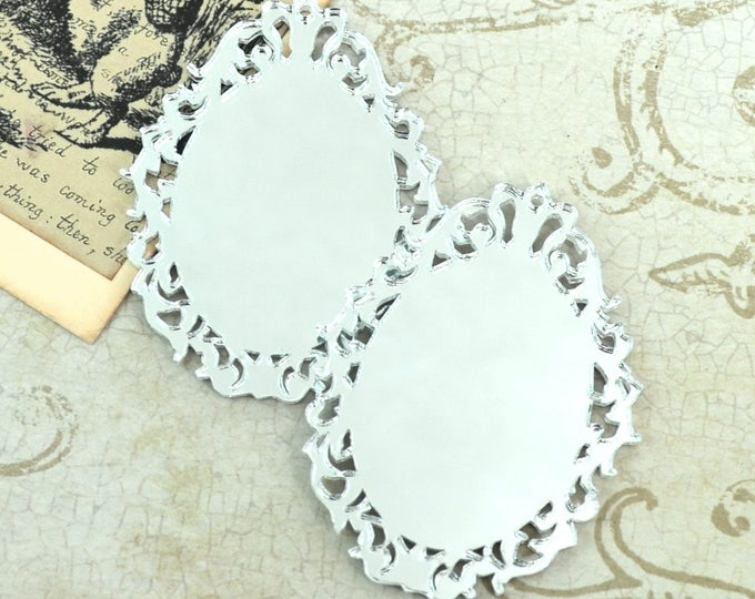 SILVER MIRROR CAMEOS - Filigree - 30 x 40 mm Ornate Oval Settings - Laser Cut Acrylic