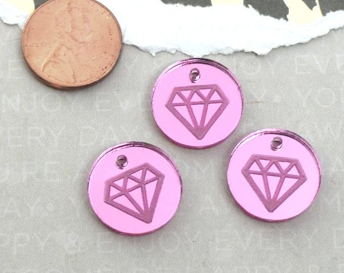 PINK DIAMOND CHARMS- Circle Disc Charm- Bright Pink Mirror Laser Cut Acrylic