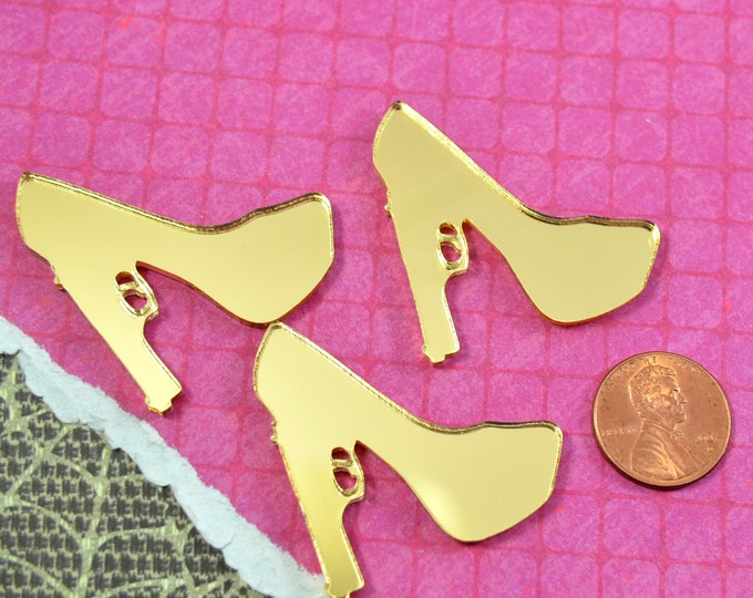 3 GOLD MIRROR Trigger Heel - Cabs in Gold Mirror Laser Cut Acrylic