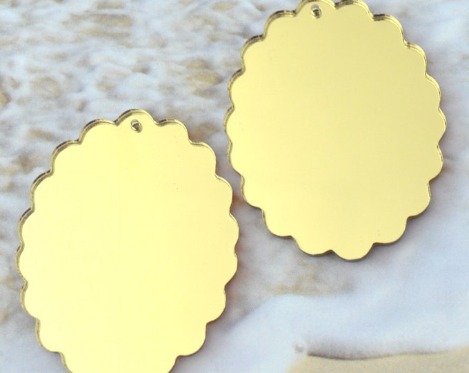 2 GOLD MIRROR CAMEOS - 30X40 mm Frame Settings - Laser Cut Acrylic