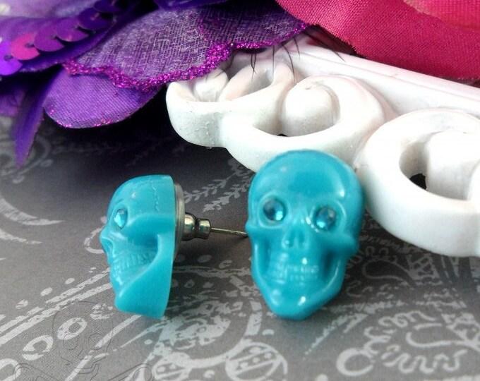 SKULL STUD EARRINGS - Blue Resin Skulls with Rhinestone Eyes - Post Earrings
