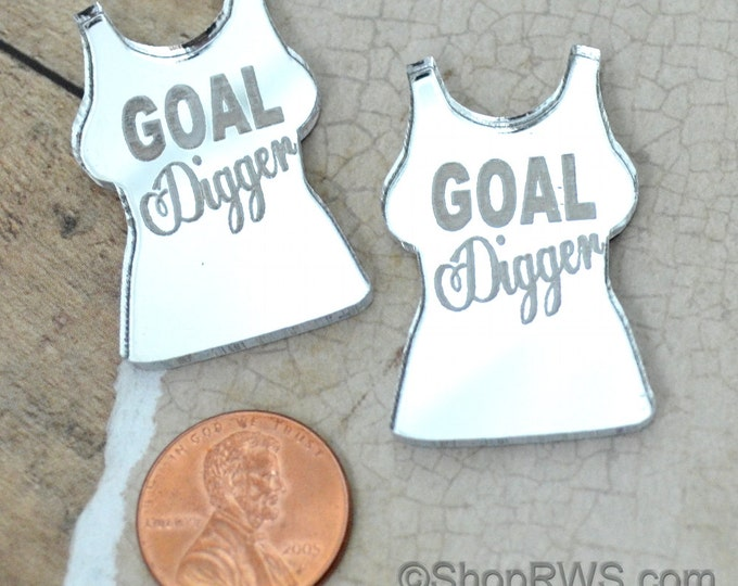 GOAL DIGGER - Silver Mirror Cabs - Cabochons - flat back - Laser Cut Acrylic