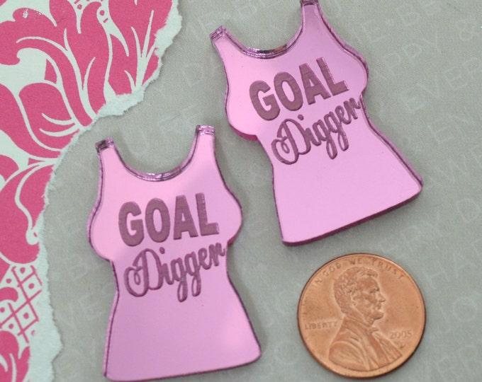 GOAL DIGGER - Pink Mirror Cabs - Cabochons - flat back - Laser Cut Acrylic