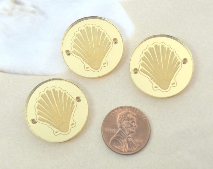GOLD CLAMSHELL CHARMS- Circle Disc Charm - Clam Sea Shell - Shiny Gold Mirror Laser Cut Acrylic