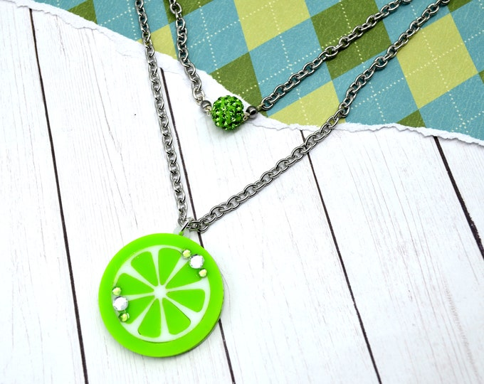 SWEET LIMEADE - Double Strand Laser Cut Acrylic Charm Necklace - Fruit Basket Collection