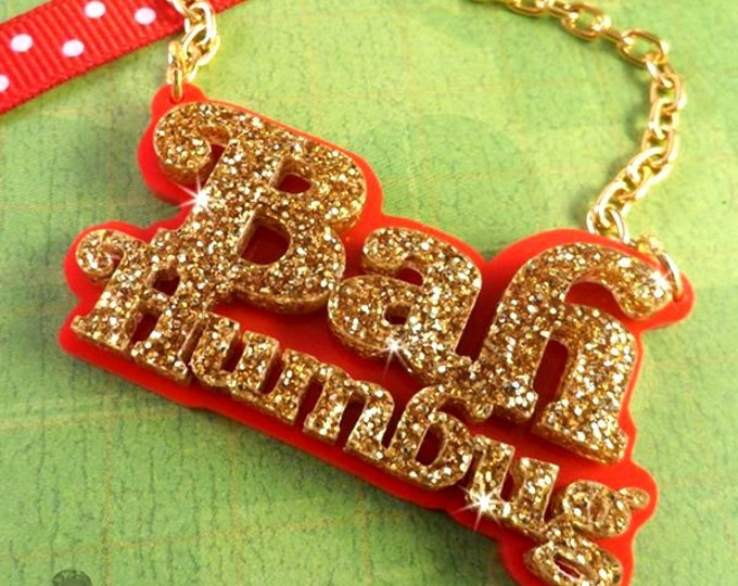 BAH HUMBUG - Christmas Charm Necklace in Laser Cut Acrylic