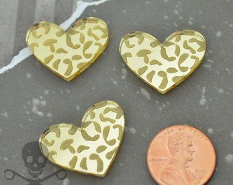 LARGE LEOPARD HEART Cabs - Set of 3 Gold Cabochons in Laser Cut Acrylic