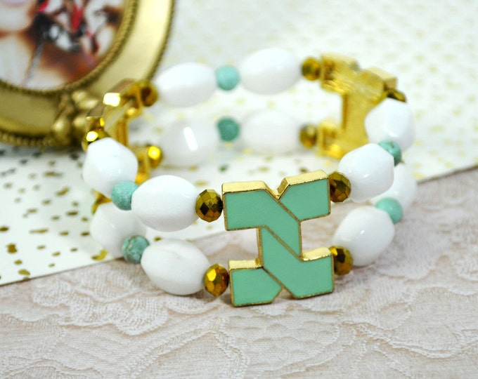 White RABBIT JADE and Turquoise Connector BRACELET - Natural and Glass Beads Stretch Bracelet