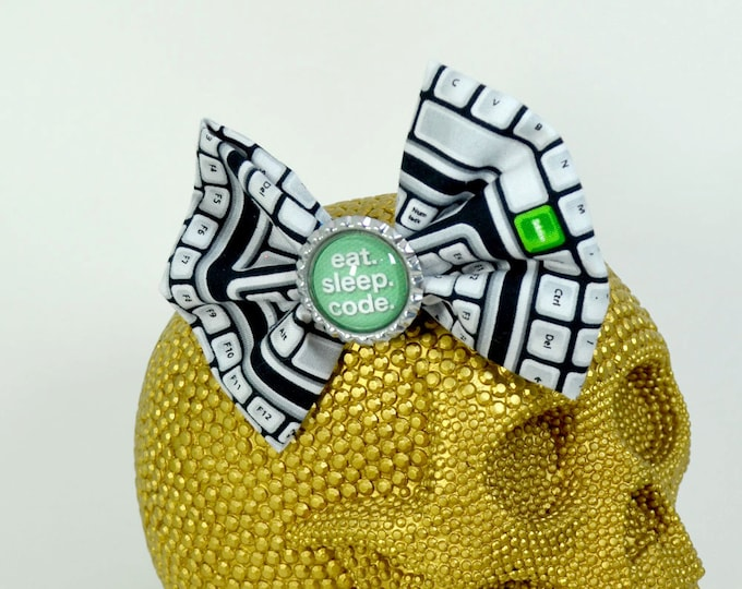 EAT. SLEEP. CODE. - Round Glass Dome cabochon on keyboard patterned fabric Hair Bow on Alligator Clip