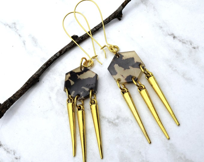 SAFARI SPIKED DANGLES - Laser Cut Acrylic Post Dangles - Geometric Glam Collection