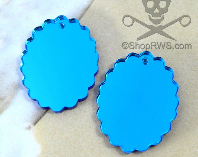 2 BLUE MIRROR CAMEOS - 30 x 40 mm Frame Settings - Laser Cut Acrylic