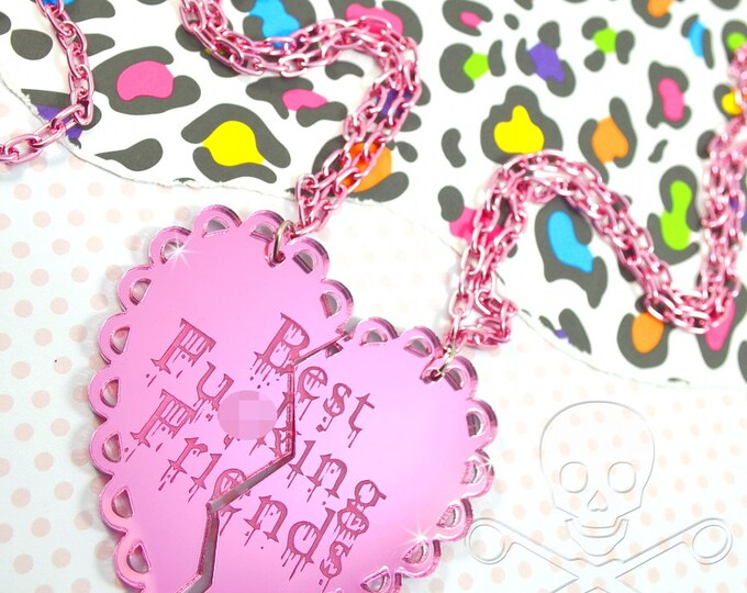 Best Fu-king Friends - Mature- Best Friends Two Necklace Set in Pink Mirror Laser Cut Acrylic