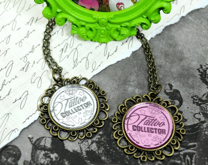 TATTOO COLLECTOR - Round Cameo Silver or Pink Glass Bronze Cabochon Necklace