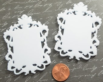 WHITE FILIGREE CAMEOS - Ornate Rectangle Frame Settings - Laser Cut Acrylic