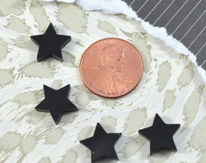 GLOSSY BLACK STARS - Set of 4 Cabochons in Laser Cut Acrylic
