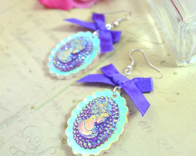 THE DEBUTANT - Purple Satin Bow and Iridescent Cameo Earrings