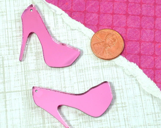 PINK  MIRROR HEELS - 2 Charms - In Glossy Laser Cut Acrylic