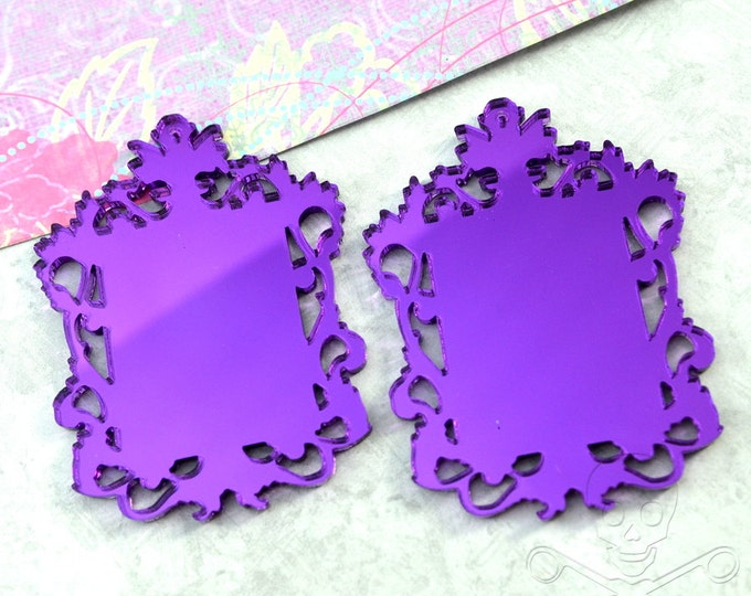 PURPLE FILIGREE CAMEOS - Ornate Rectangle Settings - Mirror Laser Cut Acrylic