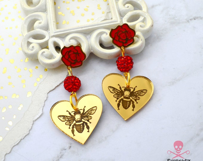 Honey Bee Dangles - Floral Heart Laser Cut Acrylic Dangle Earrings