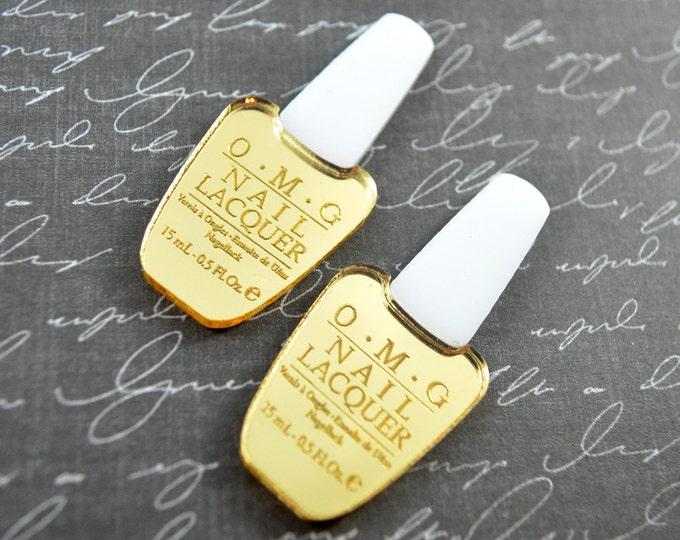 GOLD OMG Nail Polish CABS - Set of 2 Gold and White Laser Cut Acrylic Cabochons