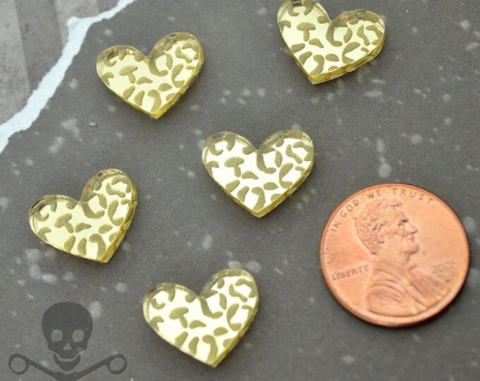 LEOPARD HEART CABS - Set of 5 Gold Cabochons in Laser Cut Acrylic