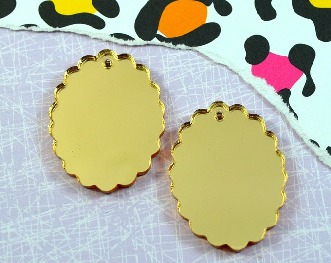 2 GOLD MIRROR CAMEOS - 18x25 mm Frame Settings - Laser Cut Acrylic