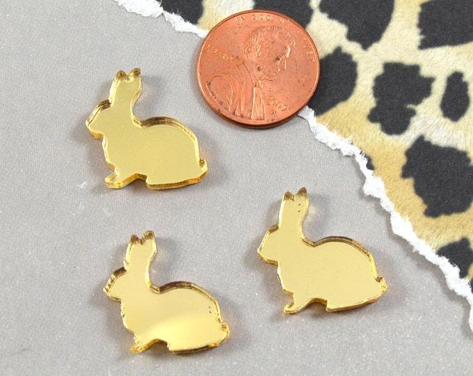 GOLD MIRROR BUNNIES - Laser Cut Acrylic Cabochons - Set of 3