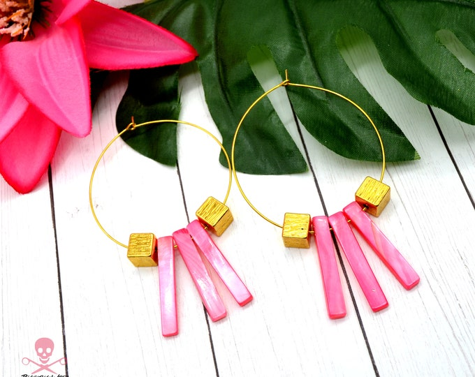 PINK TIKI HOOPS - Gold Wire Hoop Earrings with Shell Beads