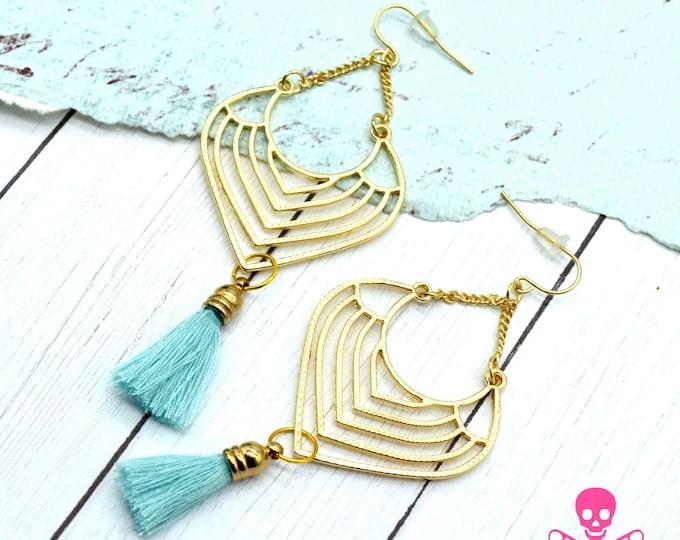 DATE NIGHT - Gold and Mint Tassel Chandelier Earrings