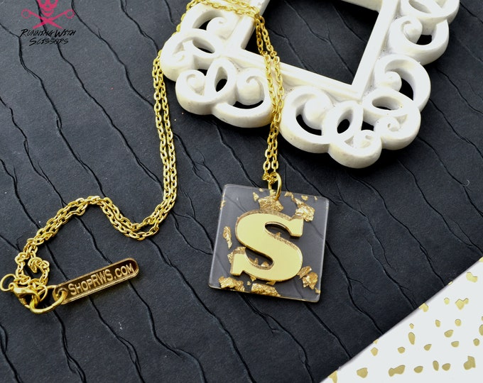 Gold Initial Necklace - Lux Laser Cut Acrylic Necklace - You Choose Your Initial