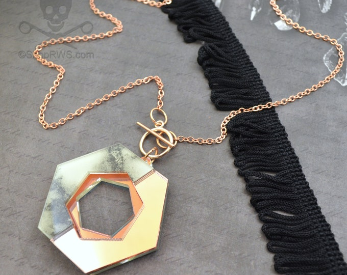 Geometric Glam - Rose Gold Mirror and Marble Acrylic Necklace