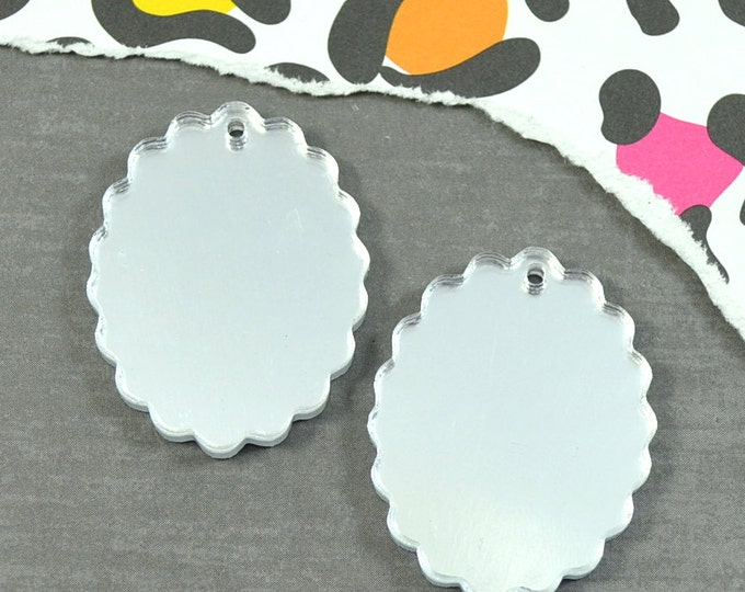 SILVER MIRROR CAMEOS - 18x25 mm Frame Settings - Laser Cut Acrylic