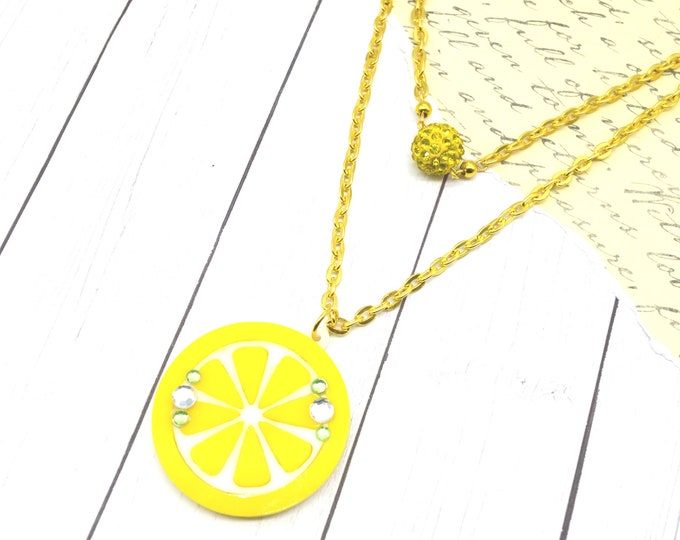 SOUR AND SWEET - Double Strand Laser Cut Acrylic Lemon Charm Necklace - Fruit Basket Collection