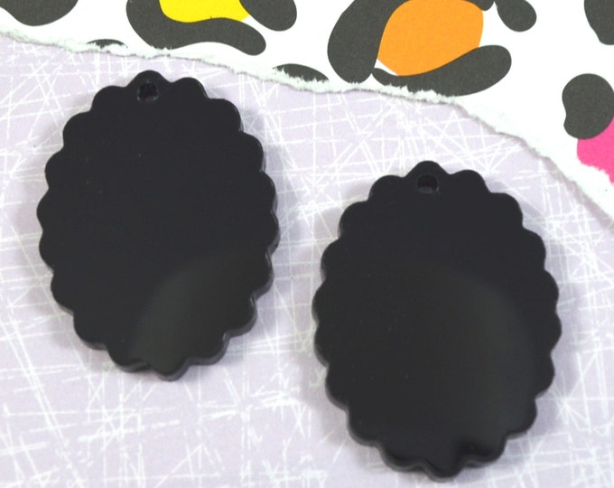 BLACK OVAL CAMEOS - 18x25 mm Frame Settings - Laser Cut Acrylic