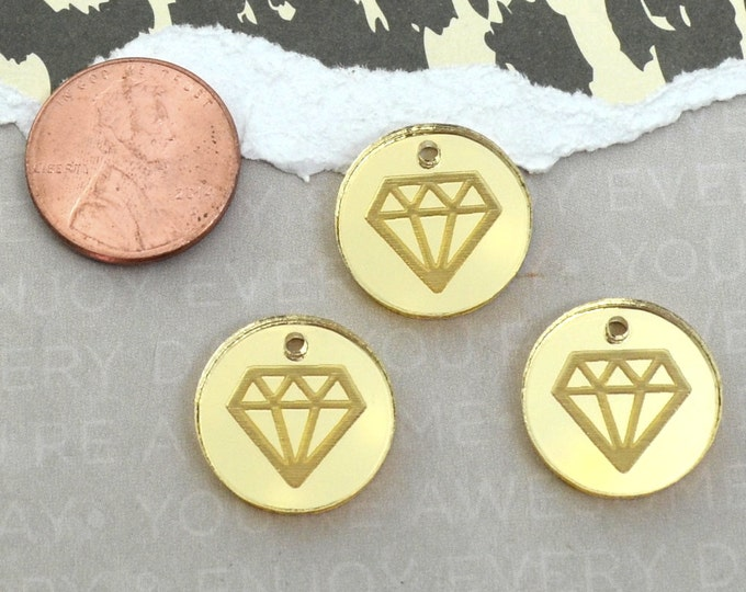 GOLD DIAMOND CHARMS - Sale -Circle Disc Charm-  Shiny Gold Mirror Laser Cut Acrylic