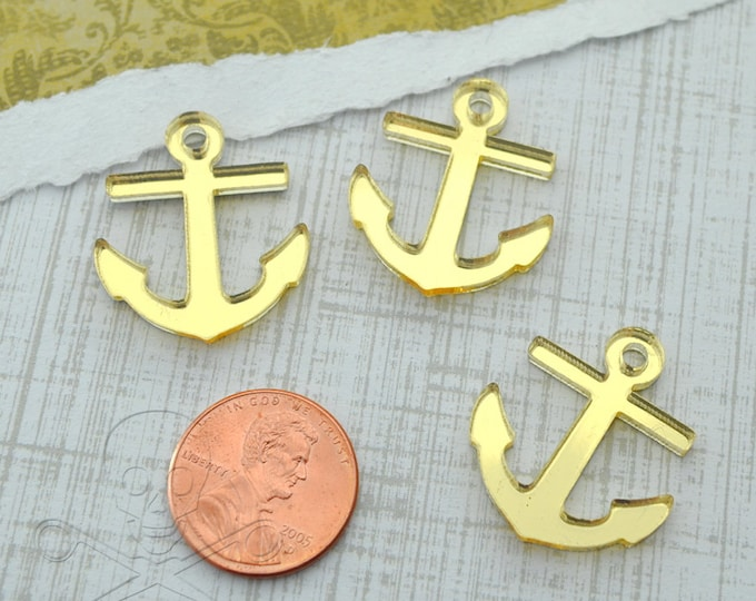 3 ANCHOR CABOCHONS- In GOLD Mirror Laser Cut Acrylic