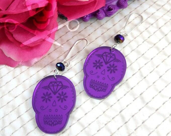 CUTE CALAVERAS - Laser Cut Acrylic Purple Mirror Sugar Skull Earrings