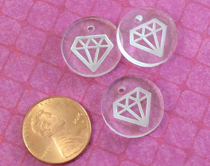CLEAR DIAMOND CHARMS- Circle Disc Charm-  Shiny Clear Laser Cut Acrylic