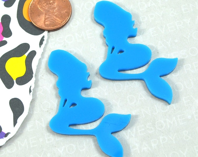 BRIGHT BLUE MERMAIDS - Set of 2 Laser Cut Acrylic Cabochons