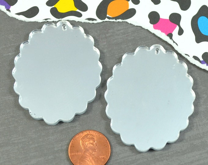 SILVER MIRROR CAMEOS - 30x40 mm Frame Settings - Laser Cut Acrylic