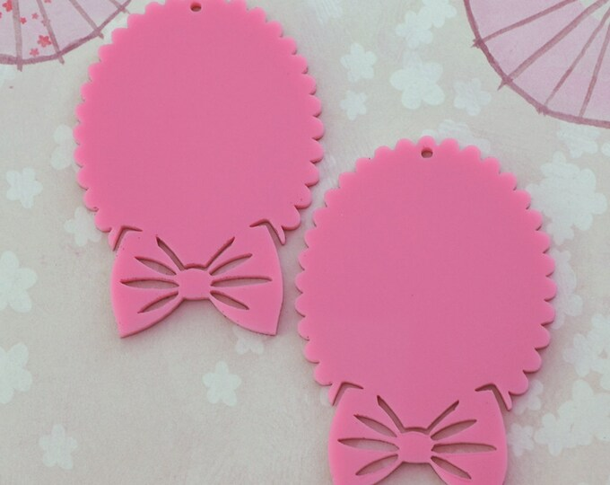 BUBBLEGUM PINK BOW Cameos - 30x40 mm Frame Settings - Laser Cut Acrylic