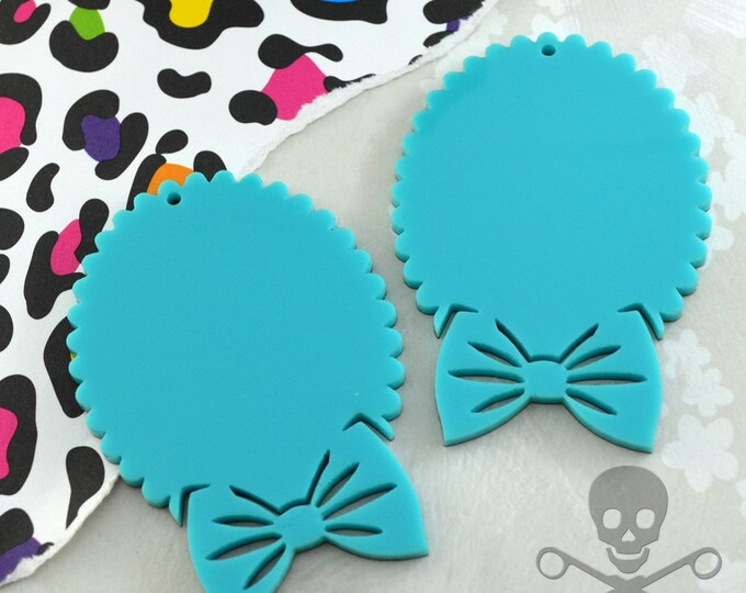 TURQUOISE BOW CAMEOS - 30x40 mm Settings - Laser Cut Acrylic