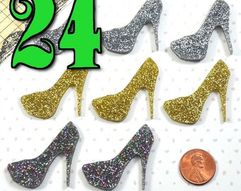 You Choose The Color - Wholesale High Heel Glitter Cabochon Charm Lot - 24 Pieces