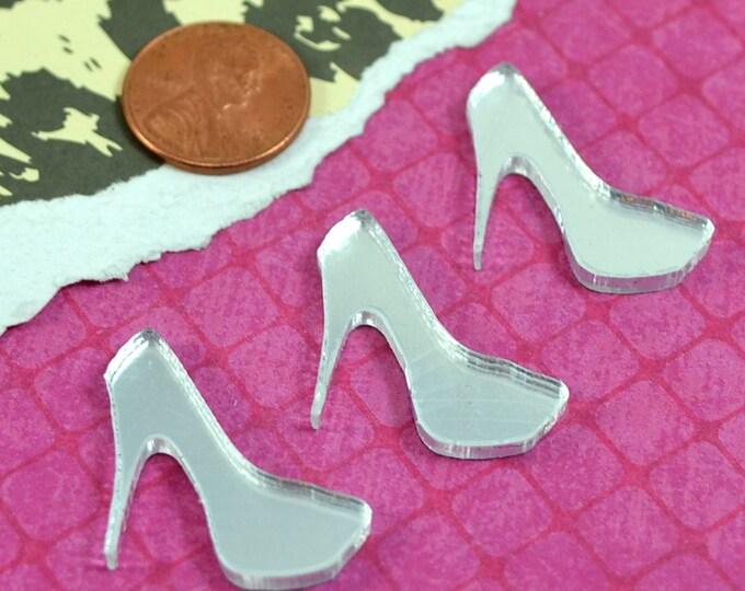 Silver Mirror Mini Heel Cabochons - 3 Pieces - Laser Cut Acrylic