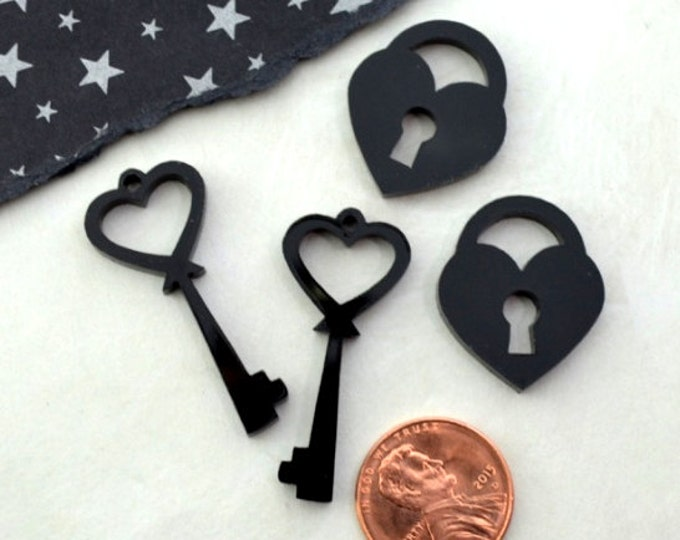 BLACK LOCK And KEY - Cabochons - Glossy Laser Cut Acrylic - 4 Pieces - Deco - Phone Case