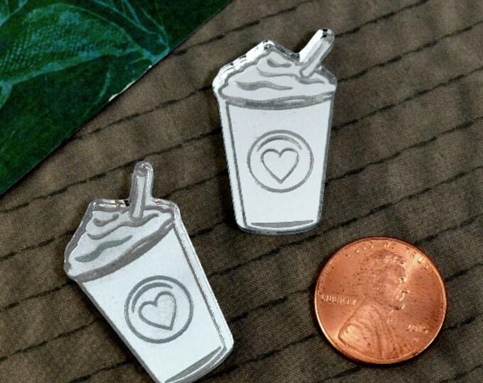 2- LOVE A LATTE - Fancy Fun Coffee Cabochons - In Silver Mirror Laser Cut Acrylic